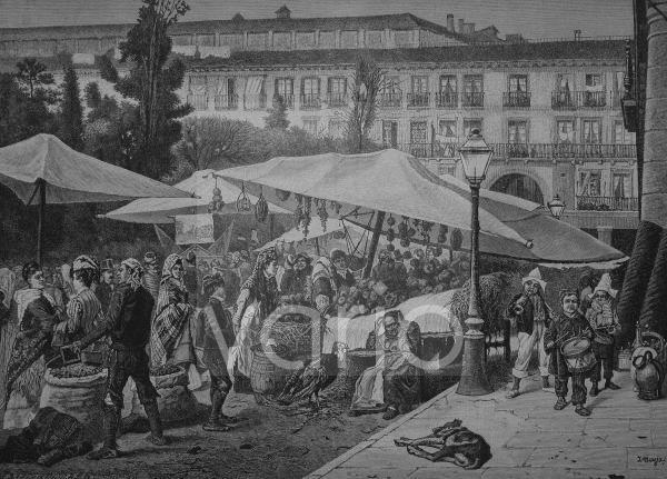 Weihnachtsmarkt auf der Plaza Major in Madrid, Spanien, historischer Stich, 1883