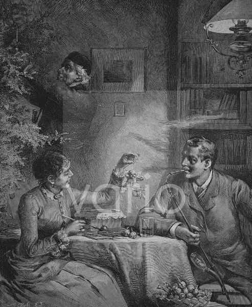 Paar bei Vorbereitungen zum Weihnachtsabend, historischer Stich, 1883