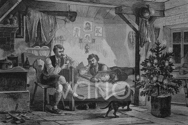 Jäger-Weihnacht im Hochgebirge, historischer Stich, 1883