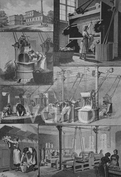 In der Dampfwaschanstalt der Berliner Charite, Berlin, Deutschland, historischer Stich, 1883