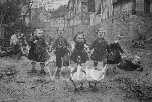 Kinder spielen mit Gänsen auf der Dorfstraße, historischer Stich, 1883
