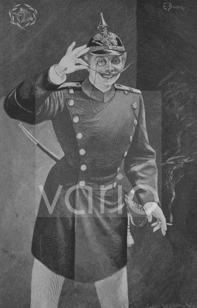 Stutzer, eleganter junger Soldat, historischer Stich, 1883