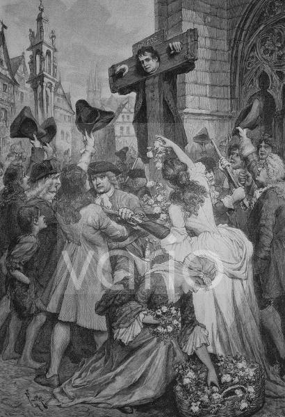 Defoe am Pranger, Daniel Defoe, 1660 - 1731, ein englischer Schriftsteller in der Frühzeit der Aufklärung, Autor von Robinson Crusoe, historischer Stich, 1883