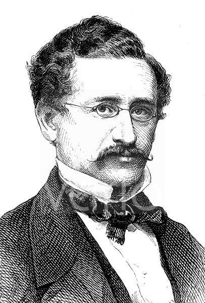 David Kalisch, 1820 - 1872, ein deutscher Schriftsteller, historischer Stich, ca. 1885
