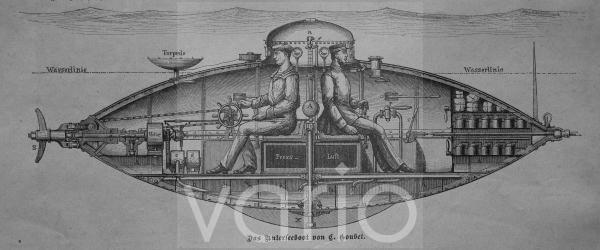 Unterseeboot von Goubet, 1881 führte der Franzose Goubet, 1837 - 1903, den Elektromotor als Unterwasserantrieb ein, historischer Stich, ca. 1885