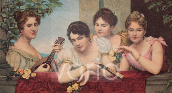 Vier Freundinnen, historische Illustration, ca. 1885