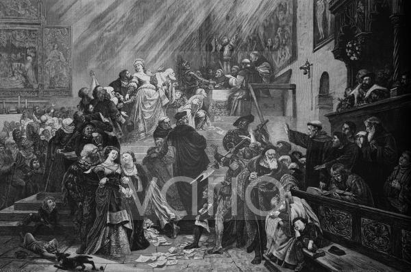 Der Ablassstreit im Jahre 1517, historischer Stich, ca. 1885