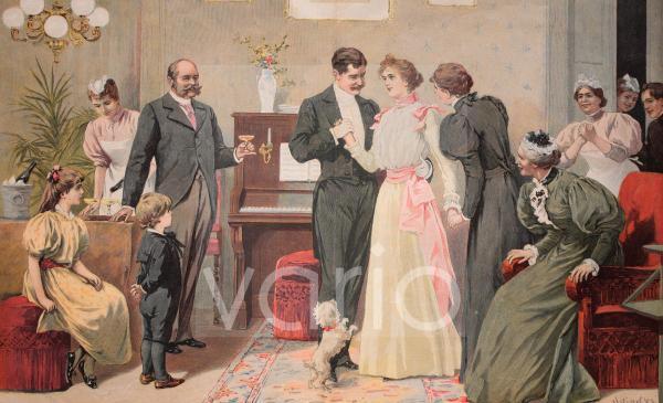 Brautpaar beim Ja-Wort, historischer Stich, ca. 1885
