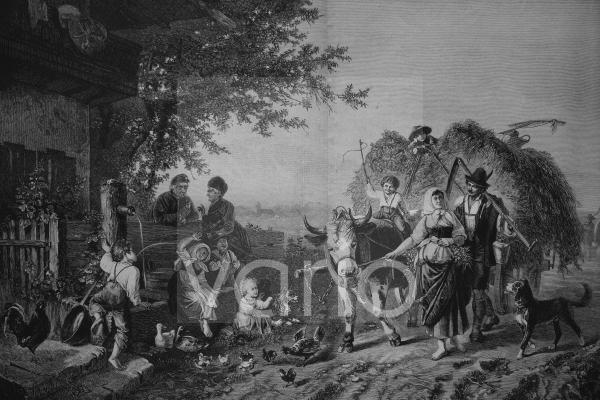 Heuernte, historischer Stich, ca. 1885