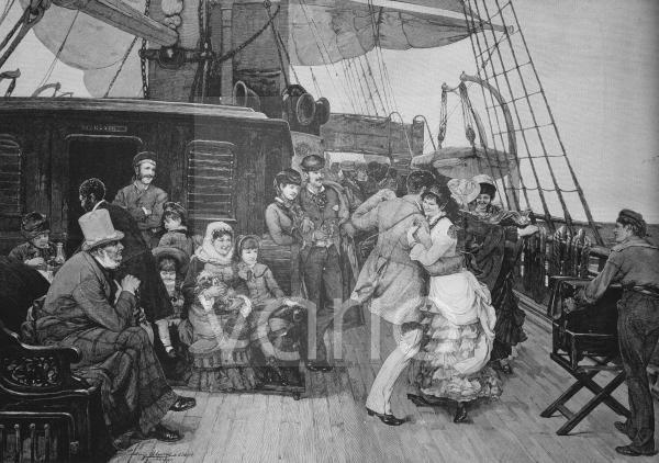 Ball an Bord eines Segelschiffes, historischer Stich, ca. 1885
