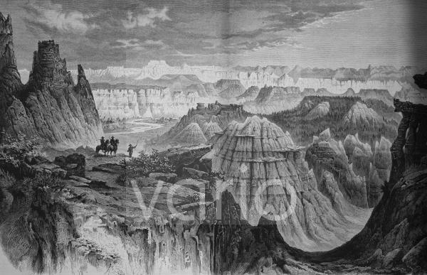 Die Bad Lands am Little Missouri, Amerika, historischer Stich, ca. 1885