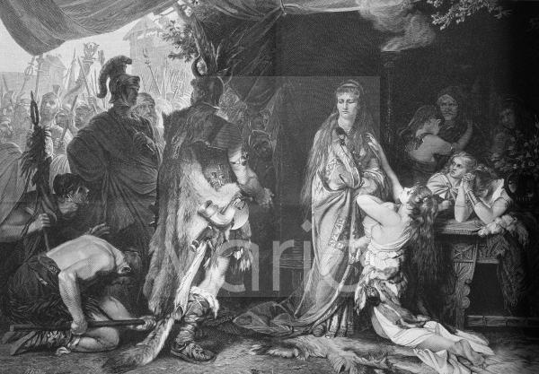 Tusnelda wird von ihrem Vater Segest, dem römischen Feldherrn Germanicus übergeben; Thusnelda, ca 17 n. Chr., eine Tochter des Cheruskerfürsten Segestes und die Gemahlin des Cheruskerfürsten Arminius,