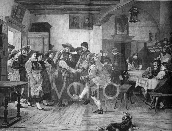 Antritt zum Tanz in einem Dorfwirtshaus, historischer Stich, ca. 1885