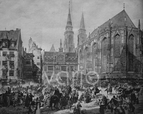 Einzug von Gustav Adolf in Nürnberg 1632, hier an der Sebalduskirche, historischer Stich, ca. 1885