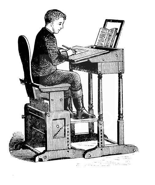 Verstellbarer Schulschreibtisch, Schulbank mit Sitzhilfe, historischer Stich, ca. 1885