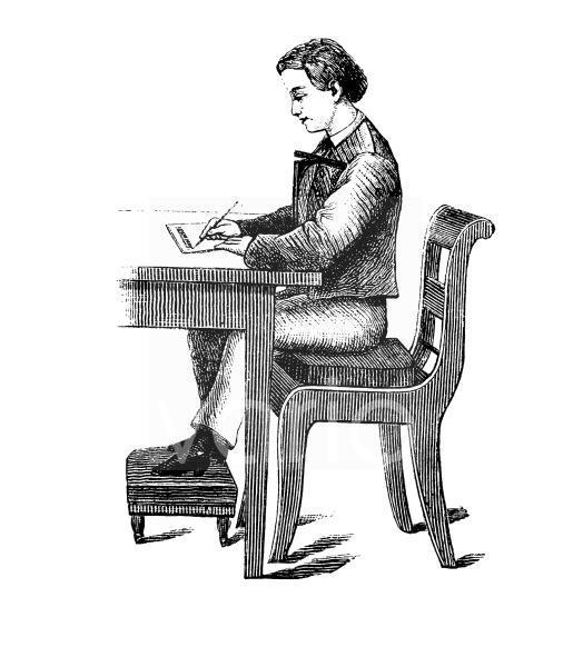 Der Schreber'sche Geradehalter, Schulbank mit Sitzhilfe, historischer Stich, ca. 1885