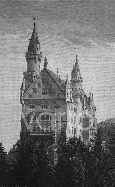 Schloss Neuschwanstein, Bayern, Deutschland, im Jahre 1883, historischer Stich, ca. 1885