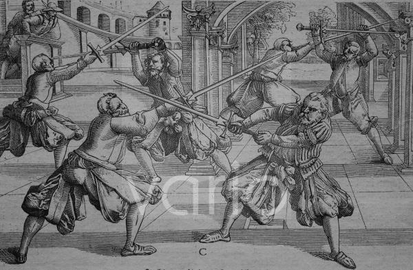 Fechttraining mit dem Landschwert, 1570, historischer Stich, ca. 1885