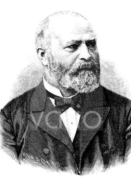 Johann Bernhard Aloys Gudden, seit 1875 Ritter von Gudden, 1824 - 1886, ein deutscher Mediziner, historischer Stich, ca. 1885