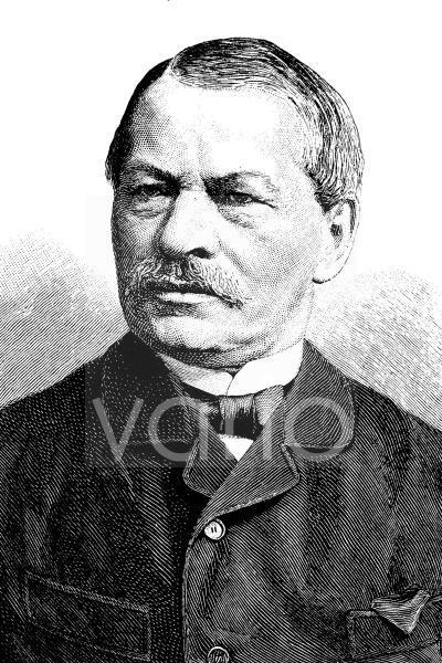 Gustav Freytag, 1816 - 1895, ein deutscher Schriftsteller, historischer Stich, ca. 1885