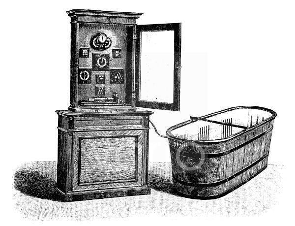 Hydroelektrisches Bad mit Batterieschrank und Stromregulierungsapparaten, historischer Stich, ca. 1885