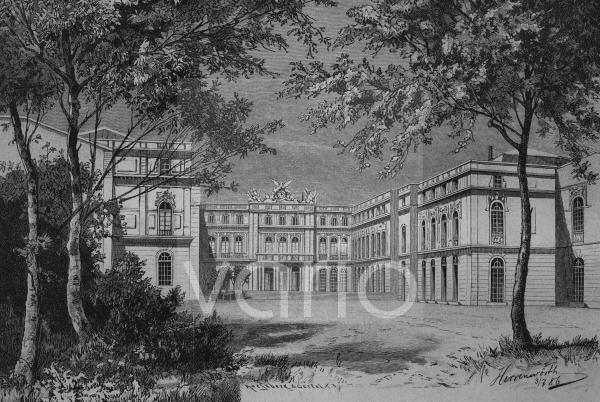 Eingang in das Schloss von Herrenwörth, heute Herrenchiemsee, Chiemsee, Bayern, Deutschland, historischer Stich, ca. 1885