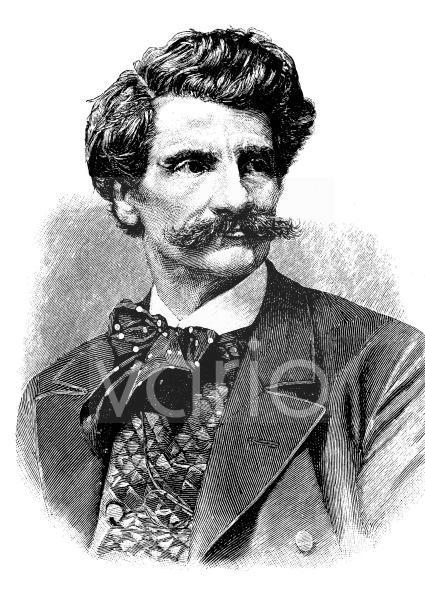 Carl Theodor von Piloty, auch Karl, 1826 - 1886, ein deutscher Maler, historischer Stich, ca. 1885