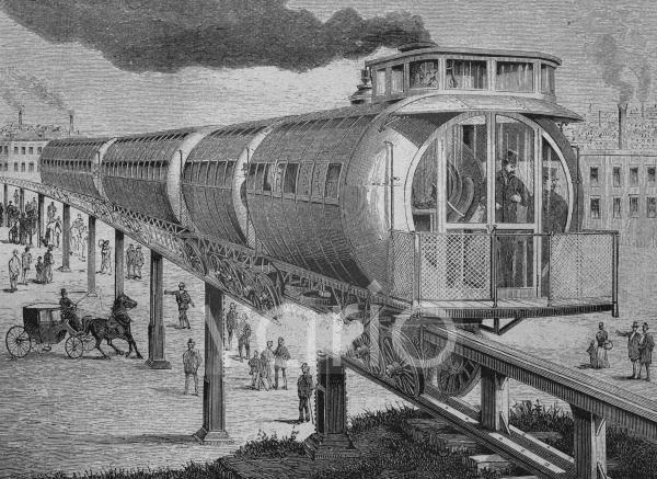 Hochbahn nach dem Meigs'schen System, historischer Stich, ca. 1885