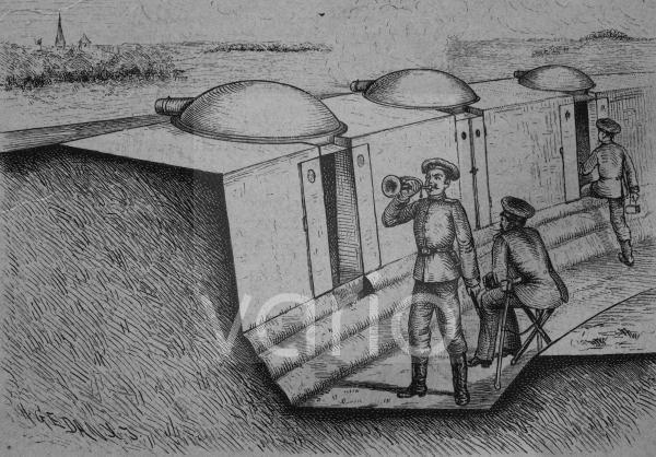 Schützengraben mit fahrbaren Panzertürmen, historischer Stich, ca. 1885
