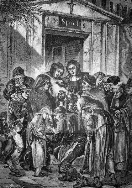 Suppenverteilung vor einem Kloster in Wien, Österreich, historischer Stich von 1883