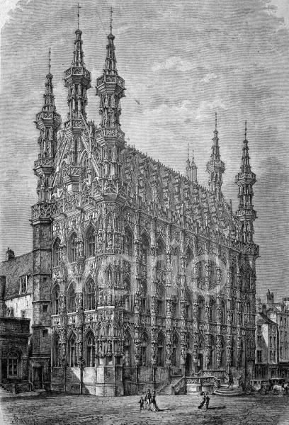 Das Rathaus von Löwen, Leuven, Belgien, historischer Stich von 1883
