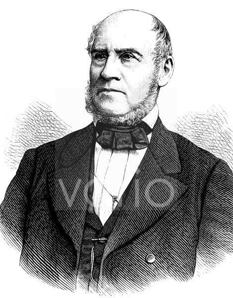 August Reichensperger, 1808 - 1895, war deutscher Jurist und Politiker sowie Förderer des Kölner Doms, historischer Stich, ca. 1889