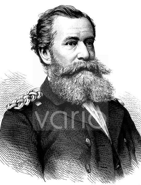Wilhelm von Wickede, 1830 - 1895, ein deutscher Vizeadmiral, historischer Stich, ca. 1889