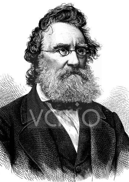 Ludwig Steub, 1812 - 1888, ein deutscher Schriftsteller und Jurist, historischer Stich, ca. 1889