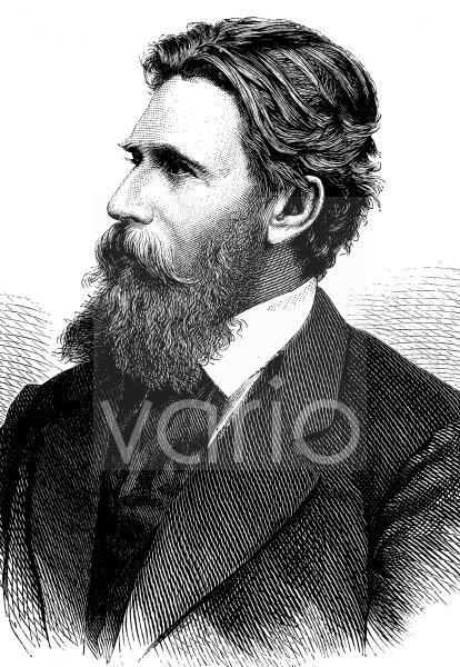 Karl Stieler, 1842 - 1885, ein deutscher Dichter mit Wirkungsschwerpunkt in Bayern, sowie Archivar und Jurist, historischer Stich, ca. 1889