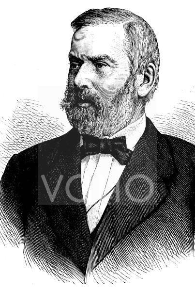 Wilhelm Wattenbach, 1819 - 1897, ein deutscher Historiker und Paläograf, historischer Stich, ca. 1889