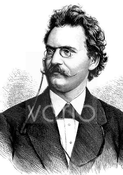 Eugen Gura, 1842 - 1906, ein österreichischer Opernsänger, galt als einer der bedeutendsten Wagnersänger seiner Zeit, historischer Stich, ca. 1889