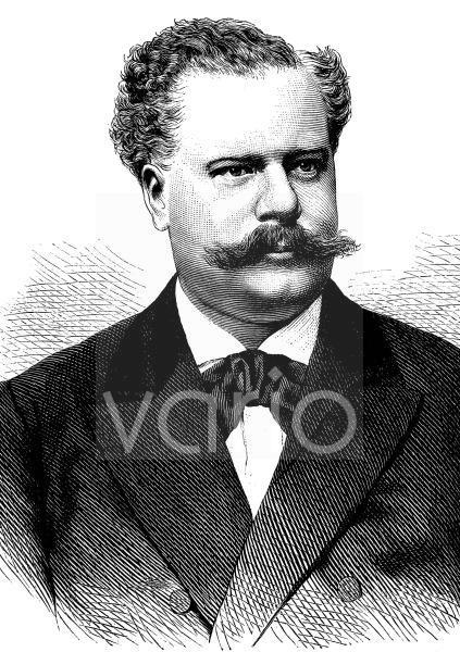 Emil Scaria, 1838 - 1886, Sänger an der Dresdner Hofoper, historischer Stich, ca. 1889