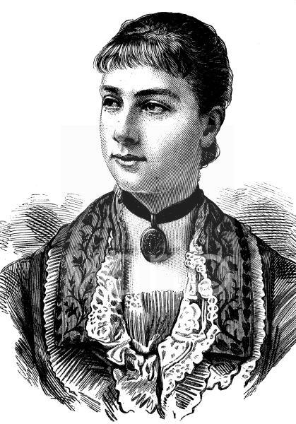 Viktoria von Baden, schwedische Schreibweise Victoria av Baden, 1862 - 1930, war Prinzessin aus dem Haus Baden und durch Ehe Königin von Schweden, historischer Stich, ca. 1889