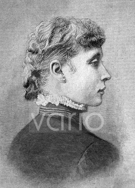 Prinzessin Viktoria Alberta Elisabeth Mathilde Marie von Hessen-Darmstadt VA, 1863 - 1950, war durch Heirat Prinzessin von Battenberg, spätere Marchioness of Milford Haven, historischer Stich, ca. 188