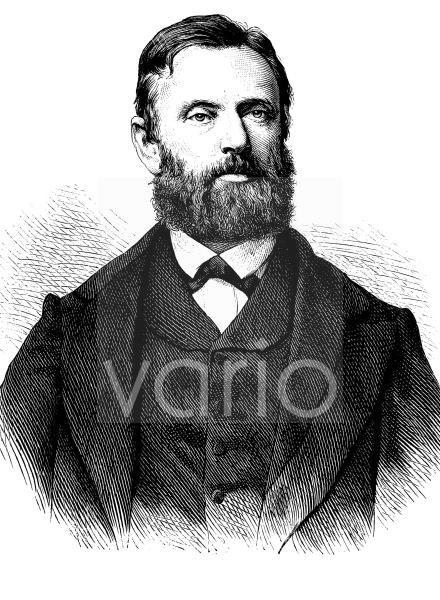 Ferdinand Jacob Heinrich Mueller, ab 1867 von Mueller, ab 1871 Freiherr von Mueller, 1825 - 1896, ein deutsch-australischer Botaniker und Geograph, historischer Stich, ca. 1889