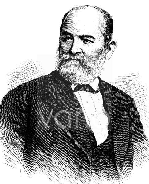 Ernst Julius Hähnel, 1811 - 1891, ein deutscher Bildhauer und Professor an der Dresdner Kunstakademie, historischer Stich, ca. 1889