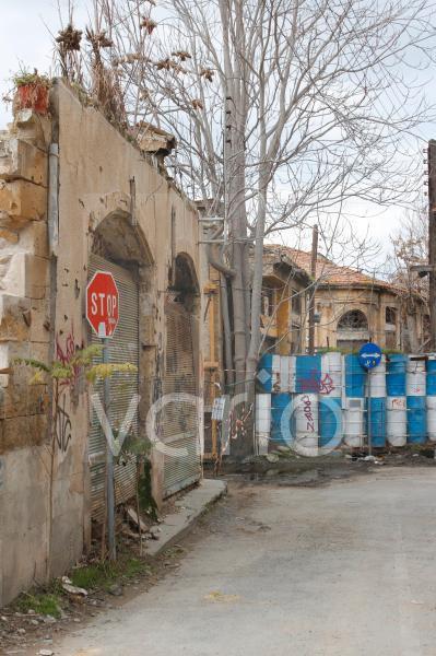 Griechisch-türkische Grenze in der geteilten Stadt Nicosia, Nikosia, Zypern, Europa