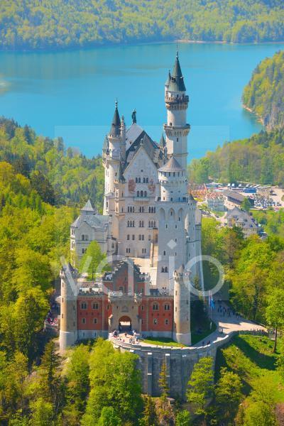 Schloss Neuschwanstein, bei Füssen, Ostallgäu, Allgäu, Bayern, Deutschland, Europa