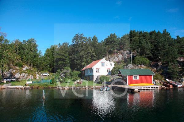 Holiday cabin and boathouse, Blindleia, South Norway, Norway, Scandinavia, Europe