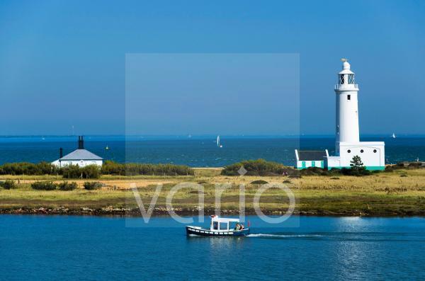 Lighthouse at Hurst Castle, Keyhaven, Hampshire, England, United Kingdom, Europe