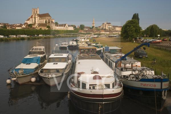 Cathedral, St. Germain church and River Yonne, Auxerre, Burgundy, France, Europe