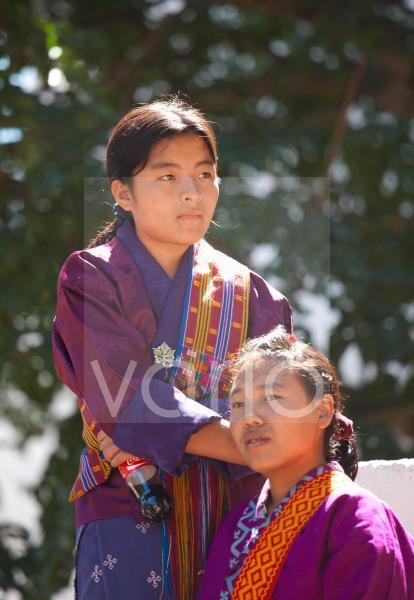 Young women in national dress, Wangdue Phodrang (Wangdi), Bhutan, Asia