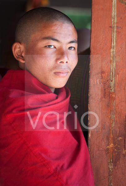 Portrait of Buddhist monk at the Tamshing Phala Choepa Tsechu, near Jakar, Bumthang, Bhutan, Asia