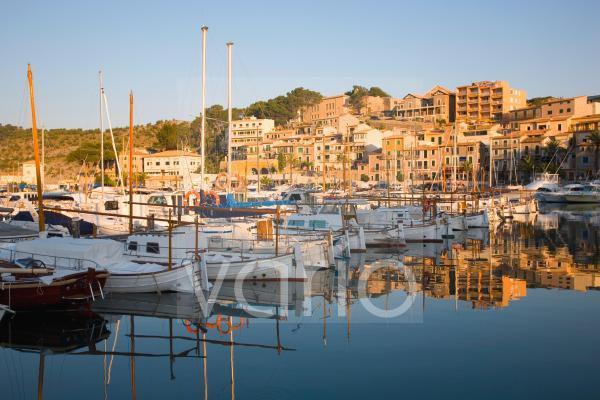 View across the harbour at sunrise, Port de Soller, Mallorca, Balearic Islands, Spain, Mediterranean, Europe